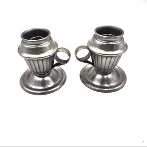 Pair of Hallmark Pewter Chamber Candle holders